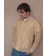 Vintage Mens Yellow Striped Shirt 16 1/2 L Donl... - $5.99