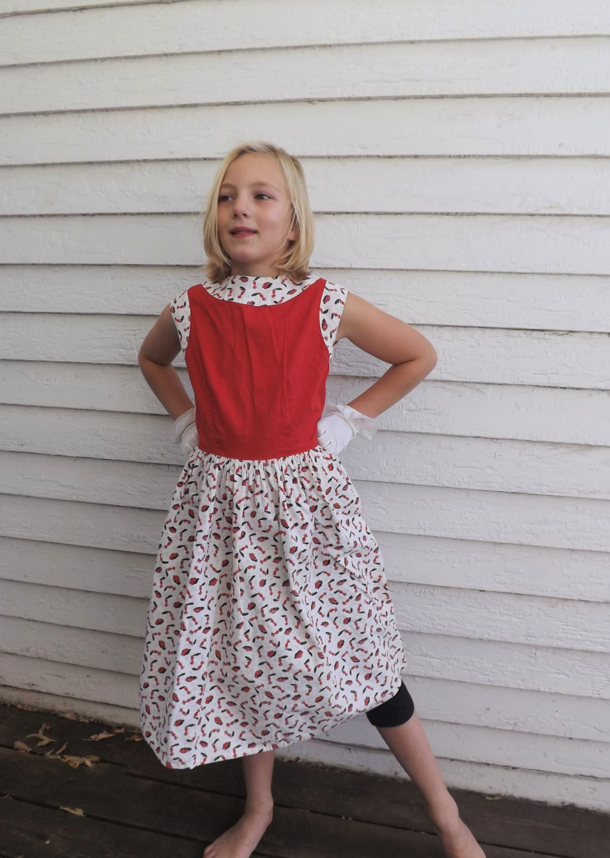 Vintage Girls Novelty Print Dress Cotton Red White Cars 50s 1950s 10 - $59.00