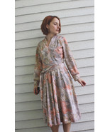 70s Print Dress Long Sleeve Vintage 1970s Full ... - $29.99