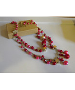 50s Necklace Pink Red Silver 1950s Japan Vintag... - $15.00