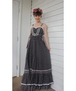 Vintage 70s Gunne Sax Dress Black Maxi XXS XS Summer Floral Prairie - $89.99