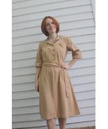 Vintage Tan Dress Khaki Casual 70s 1970s Retro S 8 - $19.99