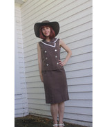 Vintage 60s Polka Dot Brown Top Skirt Set Sleev... - $23.00