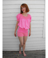 Vintage Bodysuit Ruffled Pink Romper Country Square Dance Partners Please - $54.00