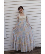 Gunne Sax Dress Bird Floral Scenic Print Maxi Lace XS Romantic 70s Vinta... - $89.99