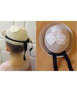 Vintage Girls Hat White Black Ribbon - $14.00