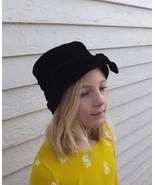 Cloche Velvet Hat 50s Black Bow 1950s Vintage C... - $19.99