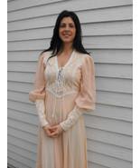 1970s Gunne Sax Dress Corset Prairie Boho Lace XS 7 Peach Hippie Full Le... - $89.99
