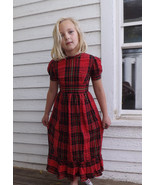 Girls Red Plaid Dress Vintage Holiday Christmas... - $34.00
