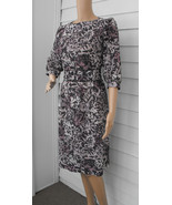 Retro Dress 80s Floral Print Beige Brown Black ... - $39.99
