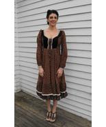 Gunne Sax Dress Brown Print Vintage 70s Boho Prairie Maiden XS - $79.99