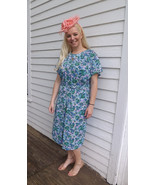 Nylon Print Dress 60s 1960S White Blue Pink Gre... - $89.99