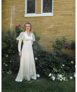 Gunne Sax Dress Ivory Satin Bridal Wedding Prairie Victorian Vintage 70s... - $89.99