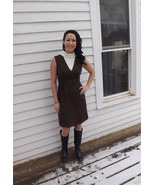 Brown Mod Dress Sleeveless Vintage 70s Mini XS ... - $29.99