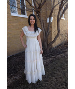Gunne Sax Dress 70s Vintage Ivory Lace XS 9 Romantic Full Length - $79.99