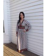 Hippie Maxi Dress Long Sleeve Floral Leaves Pri... - $39.99