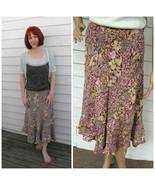 Floral Bias Skirt Garden Print Vintage S Earth ... - $29.99