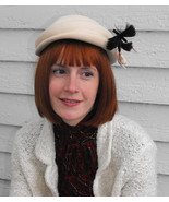 Ivory Hat Wool Black Dragonfly Accent Vintage - $37.00