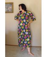 Black Floral Dress Flower Print Long Casual Cot... - $29.99