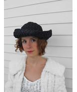 Vintage Blue Hat Straw Summer Sun - $24.00