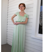 Light Green Dress Maxi Formal Mint Vintage 70s Spring S XS - $49.99