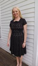 Vintage 50s Black Dress Open Lace Sheer 1950s M 38 Bust 30 Waist - $89.99