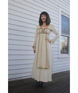 60s Lace Dress Gunne Sax Ivory Victorian Prairie Hippie Black Label Maxi XS - $118.00