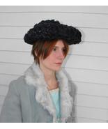 Blue Straw Hat Vintage Summer Sun Long Brim Velvet Bow - $25.00