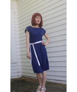 80s Dark Blue Dress Vintage Retro Casual Should... - $14.00