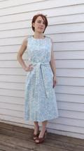 50s Wrap Dress Blue White Print S XS Casual Cotton Vintage 1950s - $45.00