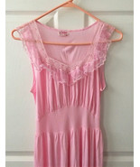 Pink Nightgown Lace Gown Lingerie Vintage Sheer... - $25.00