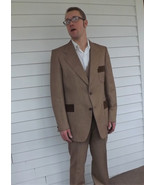 70s Mens Suit Vintage 1970s Tan Striped 3 piece Wool 46 L - $170.00