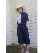 Blue White Dress with Jacket Casual Vintage 70s... - $19.99