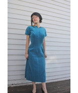 50s Velvet Dress Vintage Turquoise Blue Party C... - $125.00
