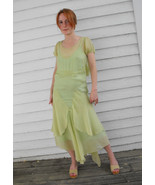 Vintage 30s Dress Green Sheer 1930s Bias Smocke... - $98.00