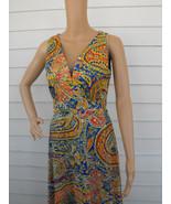 Hippie Print Dress Summer Sleeveless Maxi Vintage 70s 1970s Mr B S M - $58.00
