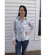 Vintage Western Shirt White Print Long Sleeve 1... - $14.00