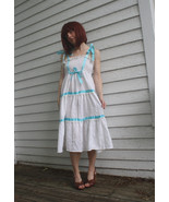 White Summer Dress 70s Smocked Vintage Casual P... - $29.99