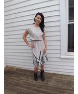 70s Neutral Dress Vintage Sheer Print Summer Ca... - $29.99