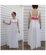 Vintage 60s Lace Gown Party Dress Empire Pink Bow Sleeveless Long 1960s ... - $48.00