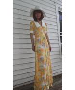 Yellow Maxi Dress Hippie Vintage Floral Print D... - $29.99