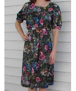 Hippie Photo Print Dress Vintage 70s Floral Wil... - $19.99