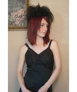 Vintage Black Feather Hat Velvet Round Miss Irene - $29.99
