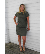 Vintage 60s Green Dress Mod Short Sleeve Dark O... - $9.99