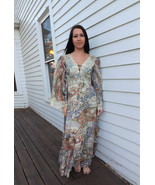 70s Hippie Dress Gunne Sax Maxi Print Angel Sleeve Lace 1970s Vintage XS - $79.99