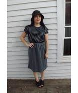 Gray Striped Dress Casual Soft Grey Black Vinta... - $25.00