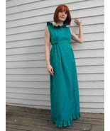 Vintage 60s Dress Party Ruffle Gown Open Back XS S Blue Green 1960s - $68.00
