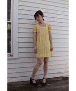 60s Yellow Gingham Mini Dress Summer Vintage 1960s Cotton  Short Sleeve ... - $35.00