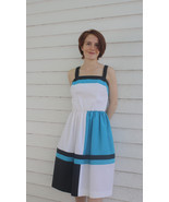 White Summer Dress Colorblock Sleeveless Retro ... - $37.00