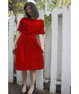 Red Velvet Party Dress Cocktail Vintage 60s 1960s Holiday Christmas XS - $59.99